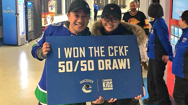 An image posted on Twitter by Canucks for Kids shows the winners of the April 5, 2018 50/50 draw.