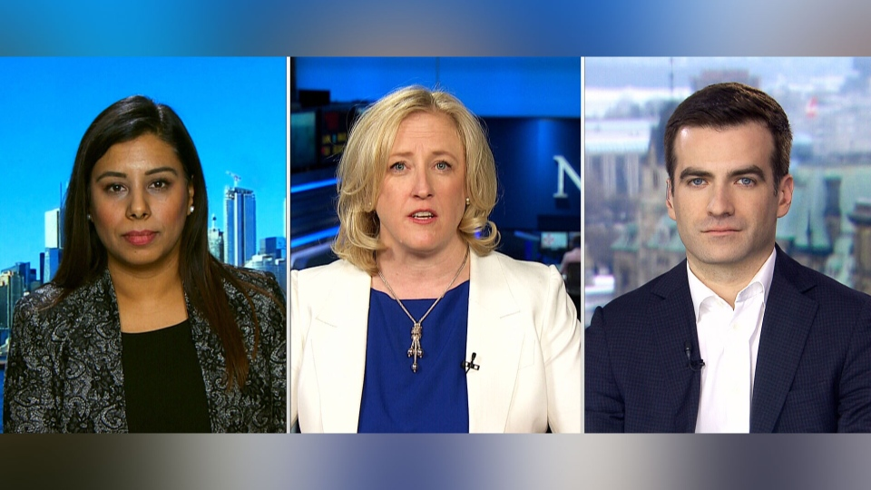 Liberal MP Ruby Sahota, Conservative MP Lisa Raitt, and NDP MP Matthew Dube on CTV's Question Period.