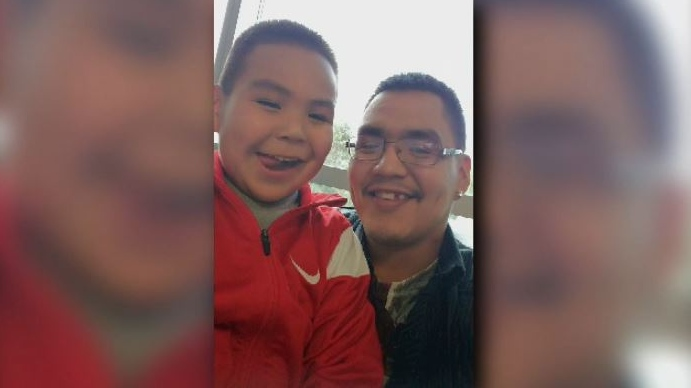 Six-year-old Dontay-Patrick Lucas and his father, Patrick Lucas, are shown in an undated photo. The boy was found in medical distress on March 13 and later died in hospital. His death has since been classified as suspicious by RCMP. April 6, 2018. (Submitted)