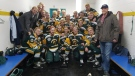 The Humboldt Broncos junior hockey team poses for a photo March 24, 2018, after winning the Bourgault Cup. (Twitter/Humboldt Broncos)