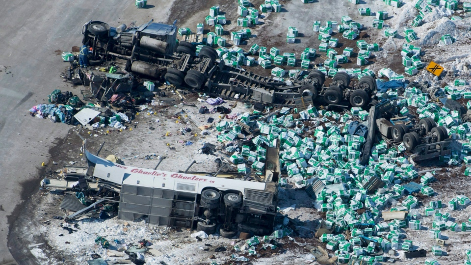 The wreckage of a fatal crash outside of Tisdale, Sask., is seen Saturday, April, 7, 2018. A bus carrying the Humboldt Broncos hockey team, en route to Nipawin for a game April 6, crashed into a semi. THE CANADIAN PRESS/Jonathan Hayward