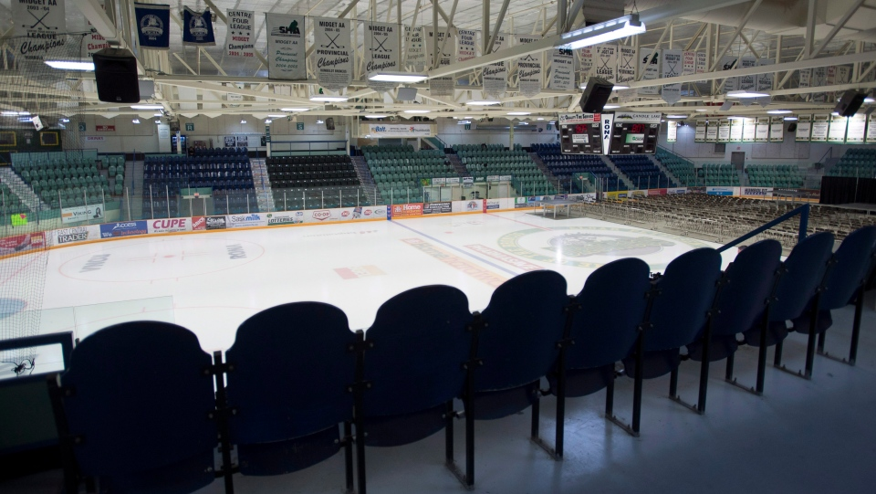 The inside of the Elgar Petersen Arena, the home of the Humboldt Broncos is seen in Humboldt Sask. on Saturday, April 7, 2018. (THE CANADIAN PRESS/Jonathan Hayward)