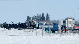 The wreckage of a fatal crash outside of Tisdale, Sask. is seen Saturday, April, 7, 2018. THE CANADIAN PRESS/Jonathan Hayward