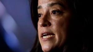 Justice Minister Jody Wilson-Raybould holds a press conference in the foyer of the House of Commons on Parliament Hill in Ottawa on Thursday, March 29, 2018. (THE CANADIAN PRESS/Sean Kilpatrick)