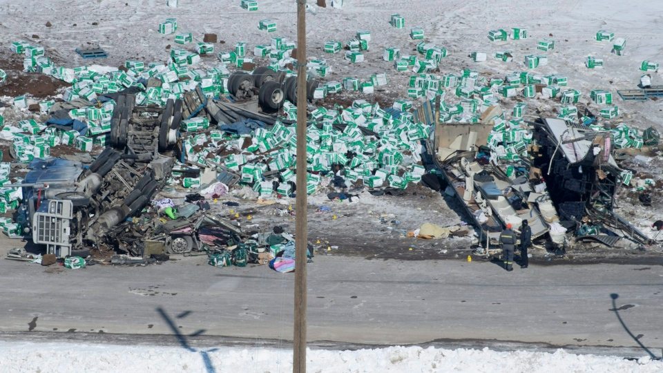 The wreckage of a fatal crash outside of Tisdale, Sask., is seen Saturday, April, 7, 2018. (THE CANADIAN PRESS/Jonathan Hayward)