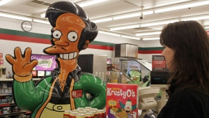 An Apu figure at a Simpsons-themed Kwik-E-Mart store in Coquitlam, on July 3, 2007. (MARKETWIRE PHOTO/7-Eleven Canada Inc.)
