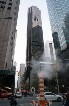 Fire damage is seen on a side of Trump Tower
