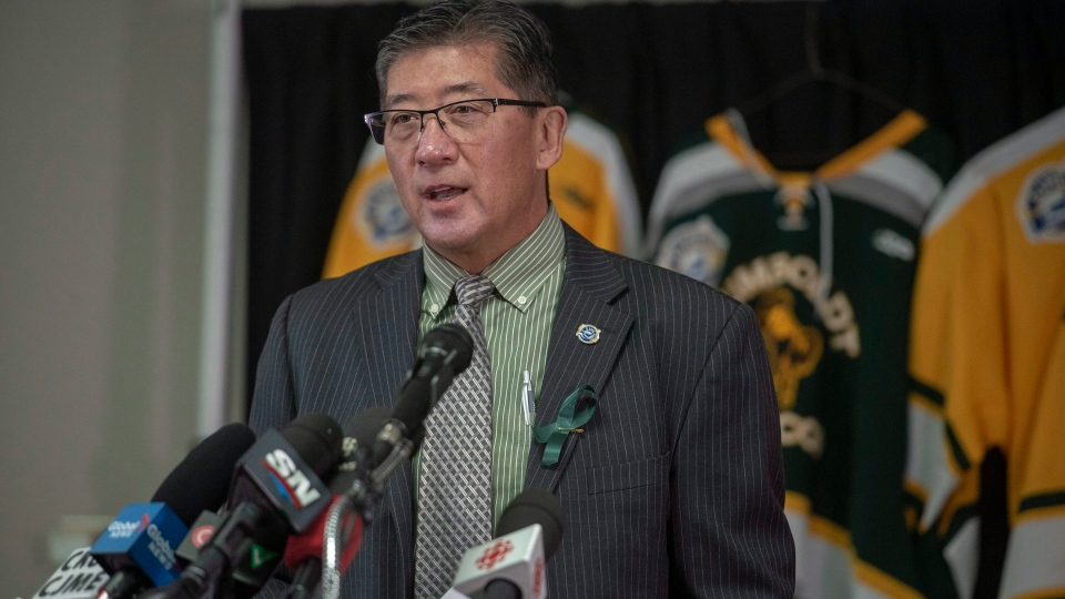 Bill Chow, President of the SJHL, speaks during a media event at Elgar Petersen Arena following a vigil in Humboldt, Sask., on Monday, April 9, 2018. (THE CANADIAN PRESS/Liam Richards)