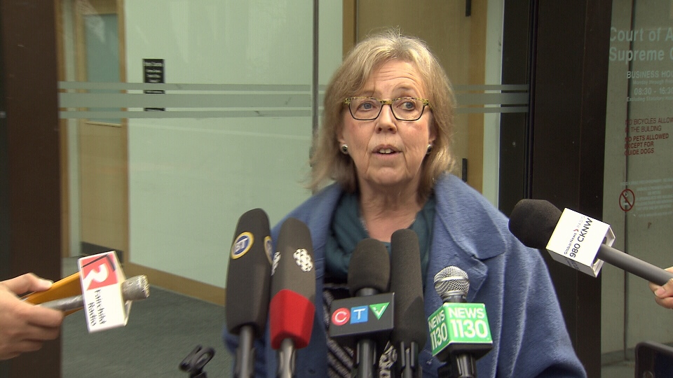 Green Leader Elizabeth May addresses reporters after a court hearing for her contempt charge. April 9, 2018.
