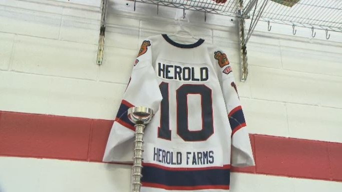 The jersey of Adam Herold, one of 15 people killed in a bus crash on April 6, 2018, is shown