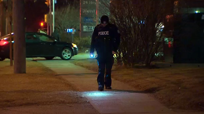 Officers investigating a shooting that left a male with minor injuries in Scarborough on April 9, 2018.