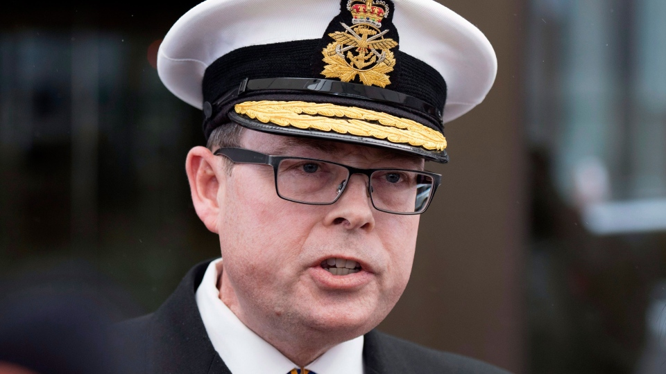 Vice-Admiral Mark Norman speaks briefly to reporters as he leaves the courthouse in Ottawa following his first appearance for his trial for breach of trust, on Tuesday, April 10, 2018. THE CANADIAN PRESS/Justin Tang
