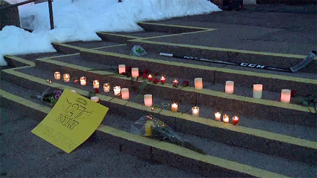 Candles, flowers and a hockey stick were placed on the steps of City Hall in Lethbridge in honour of #27, Logan Boulet.