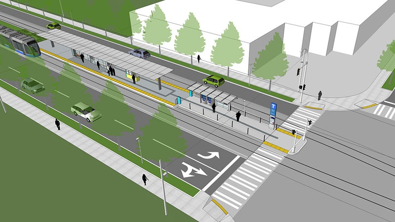 A concept sketch shows a Surrey light rail stop.