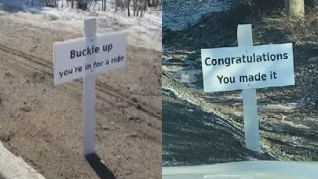 Area residents put up signs on Pine Glen Road to warn motorists about the damaged road, but the Department of Transportation has since removed them. (Laurianne Vautour)