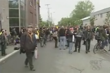 About 500 people who want to turn an abandoned building in Point St. Charles into a community centre marched through the neighbourhood on Friday, May 29, 2009.