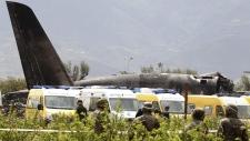 Military plane crash scene in Boufarik, Algeria