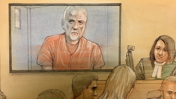 Bruce McArthur is seen in court via video link at an April 11, 2018 appearance. (John Mantha)