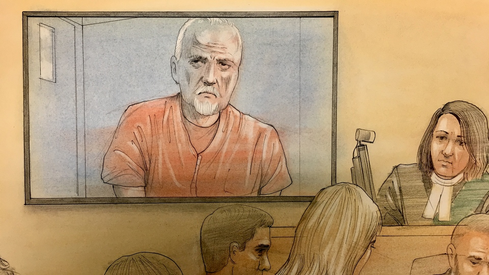 Bruce McArthur is seen in this court sketch, Wednesday, April 11, 2018. (John Mantha / CTV News)