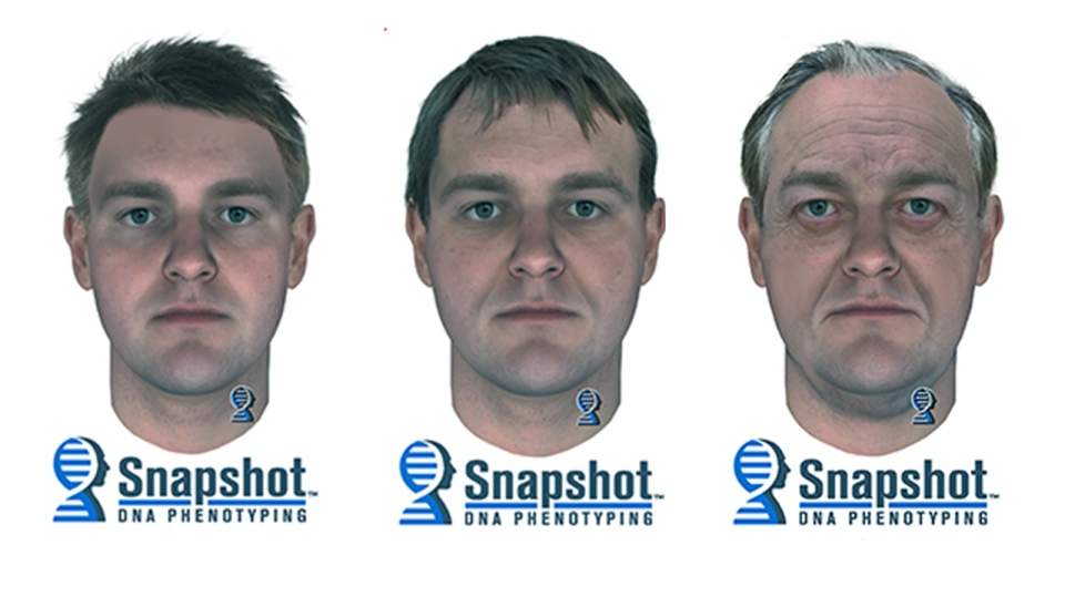 A suspect image created by DNA profiling depicts what the suspect may have looked like at 25 years old, 45 years old and 65 years old. (Snohomish County Sheriff's Office)