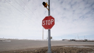 The stop sign on Highway 335 near Tisdale