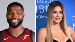 This combination photo shows television personality Khloe Kardashian at the NBCUniversal Network 2017 Upfront at Radio City Music Hall in New York on May 15, 2017, right, and Cleveland Cavaliers' Tristan Thompson at the NBA basketball team media day in Independence, Ohio, on Sept. 25, 2017, left. Kardashian confirmed Wednesday, Dec. 20, on Instagram that she is expecting her first child with boyfriend Thompson. (Photo by Evan Agostini/Invision/AP, right, Ron Schwane, left, File)
