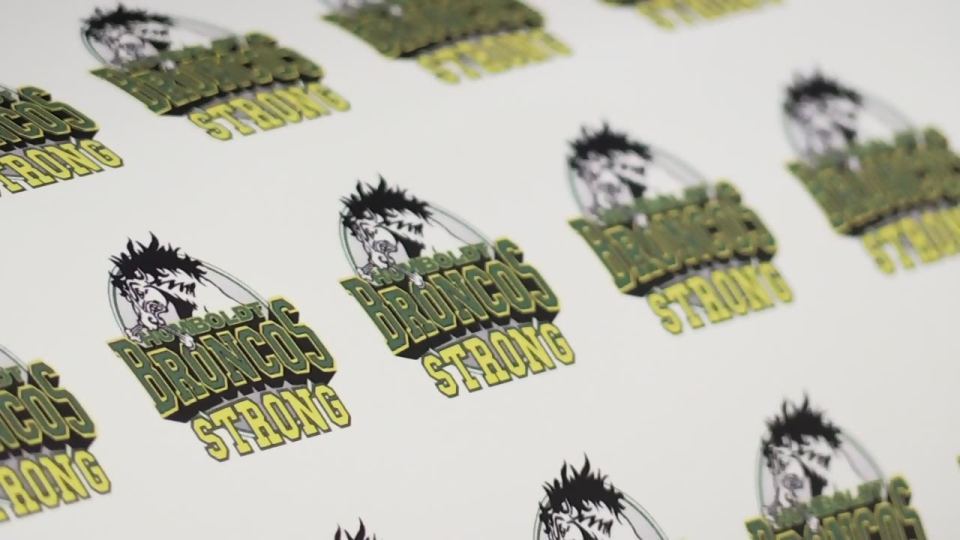 Steve Bonneville has created 'Humboldt Broncos strong' stickers, all proceeds from which will be donated to the hockey team.