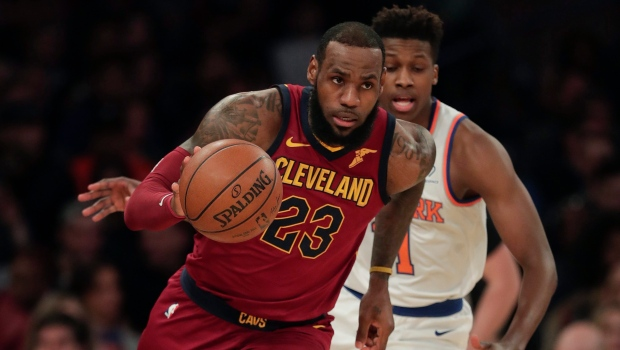 58476a6a0e2 Cleveland Cavaliers forward LeBron James (23) drives downcourt past New  York Knicks guard Frank Ntilikina (11) during the first quarter of an NBA  basketball ...