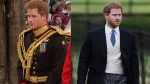 Prince Harry is seen wearing a military uniform at Prince William's wedding (left) and morning dress at Pippa Middleton's wedding (right).