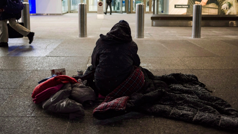 A homeless person is seen in downtown Toronto, on Wednesday, January 3, 2018. THE CANADIAN PRESS/Christopher Katsarov