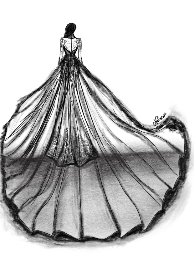 Narces design for Meghan Marklle back of dress