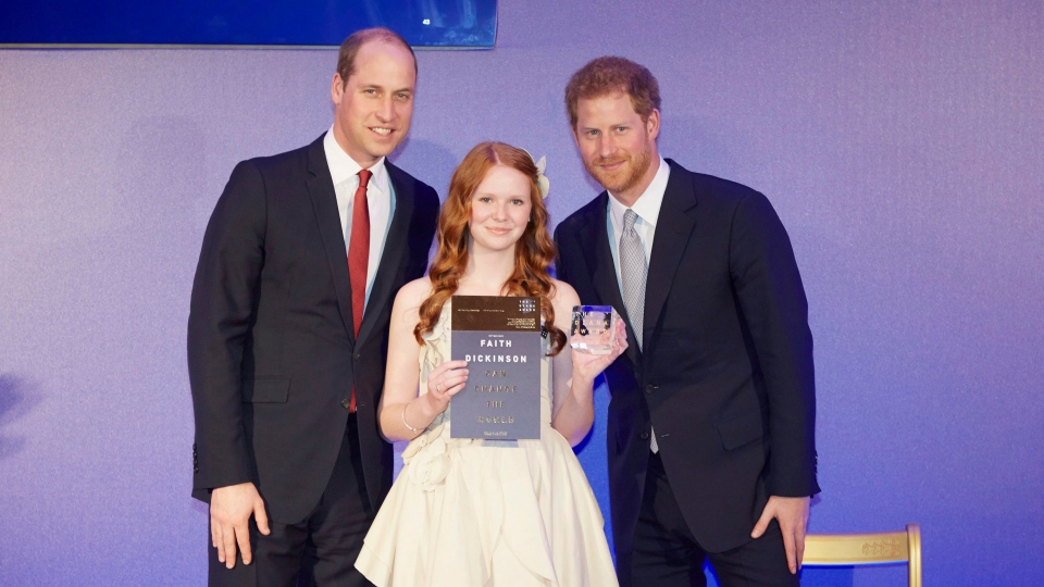 Faith Dickinson is shown in a handout photo with Prince William and Prince Harry. Dickinson, a fifteen-year-old southern Ontario girl, has scored an invitation to the wedding of Prince Harry and Meghan Markle for her charity work. THE CANADIAN PRESS/HO-The Diana Award