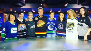 Canadians expressed their grief and solidarity by sporting jerseys and leaving hockey sticks outside their doors to honour the victims of the Humboldt Broncos bus crash. <br><br>  Staff at CTV News Vancouver sport jerseys on Thursday, April 12, 2018. (Christina Heydanus / CTV)