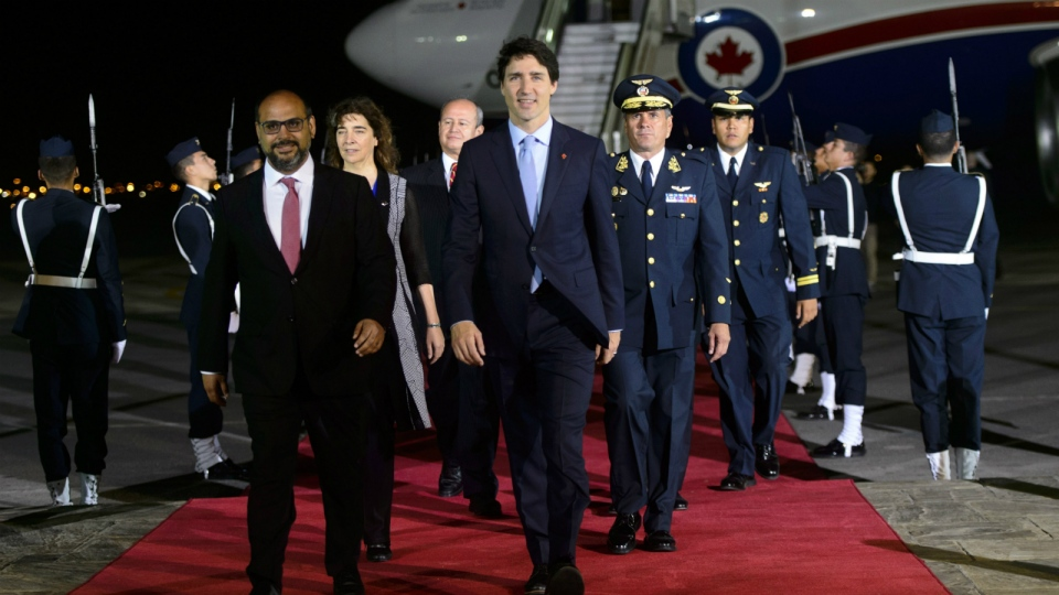 Canadian Prime Minister Justin Trudeau arrives in Lima, Peru for the Summit of the Americas on Thursday, April 12, 2018. THE CANADIAN PRESS/Sean Kilpatrick