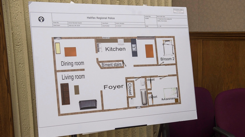 Evidence from the Nicholas Butcher murder trial, including this floor plan of the murder scene, is seen at Nova Scotia Supreme Court in Halifax on Thursday, April 12, 2018. (THE CANADIAN PRESS/Andrew Vaughan)