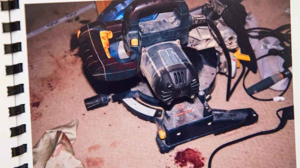 A power saw, believed to have been used by Nicholas Butcher to sever his hand, is seen in a Halifax Regional Police photo at his murder trial at Nova Scotia Supreme Court in Halifax on Thursday, April 12, 2018.  (THE CANADIAN PRESS/Andrew Vaughan)