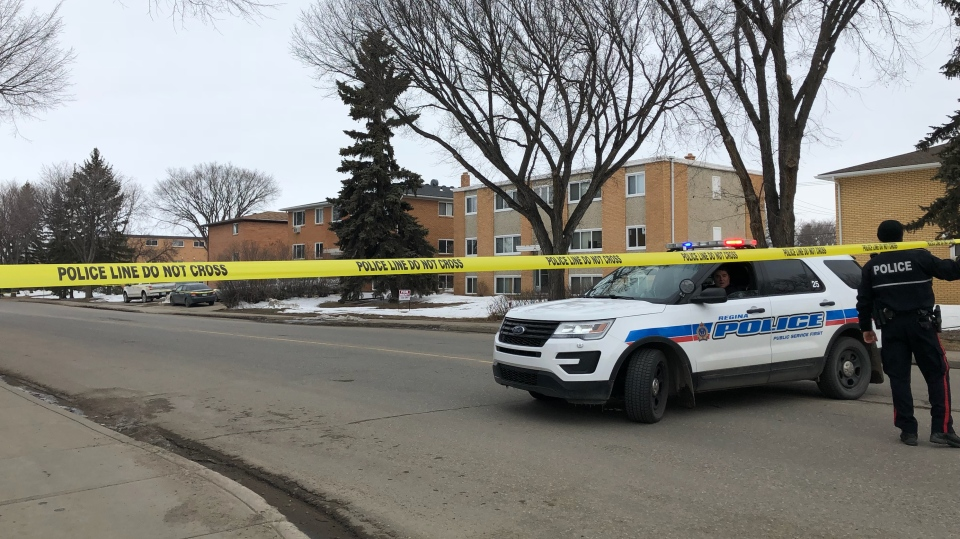 Police closed off a portion of Parliament Avenue in Regina on April 13 after a cab was stolen and the cabbie was stabbed. (ALEX BROWN/CTV REGINA)