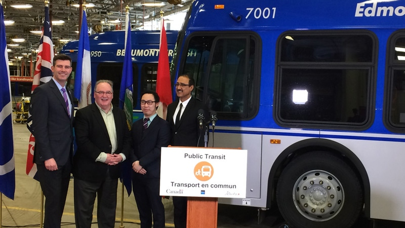 (From L to R) Mayor Don Iveson, Transportation Minister Brian Mason, MLA Thomas Dang, and federal Infrastructure and Communities Minister Amarjeet Sohi at the announcement on Friday, April 13, 2018. Supplied.