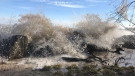 Water crashes up against the shores of Lake Erie in Leamington, Ont. on March 20, 2018. (Rich Garton / CTV Windsor)