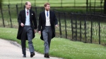 Britain's Prince William, left and Prince Harry, arrive for the wedding of Pippa Middleton and James Matthews at St Mark;s Church in Englefield, England, Saturday, May 20, 2017.  (Justin Tallis/Pool Photo via AP)