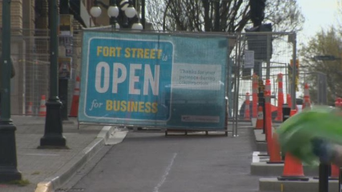 The two-way separated bike lanes on Fort Street will open by the end of May, but businesses already say it's hurting their bottom line. April 13, 2018. (CTV Vancouver Island)