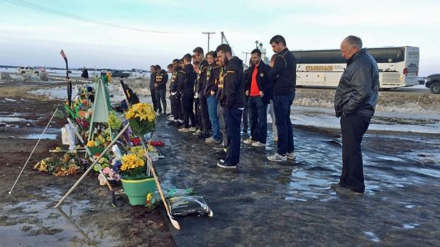 Estevan Bruins at Broncos memorial