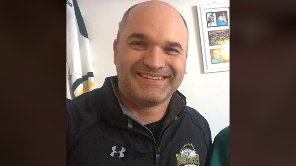 Darcy Haugan, head coach of the Humboldt Broncos, is seen in this picture posted to Twitter by his sister. Haugan is one of the victims of a deadly bus crash that left 16 people dead. (@DebbieJayneC /Twitter)
