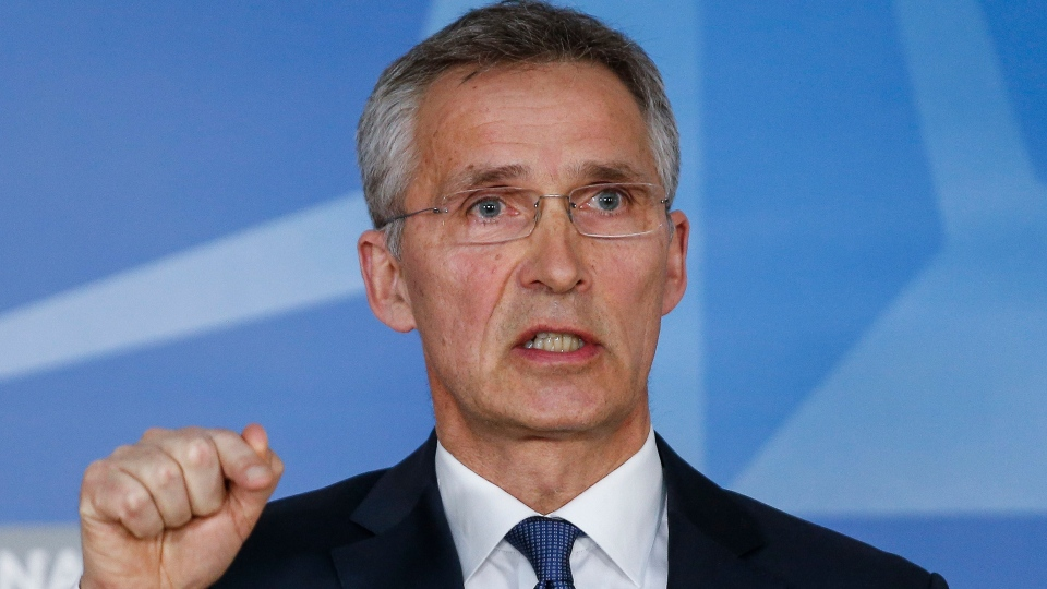 NATO Secretary General Jens Stoltenberg gives a press conference at the end of a meeting of Ambassadors at Nato headquarters in Brussels, 14 April 2018. The objective of the meeting is for France, United States and United Kingdom to update the Council on the latest developments in Syria. EPA/JULIEN WARNAND
