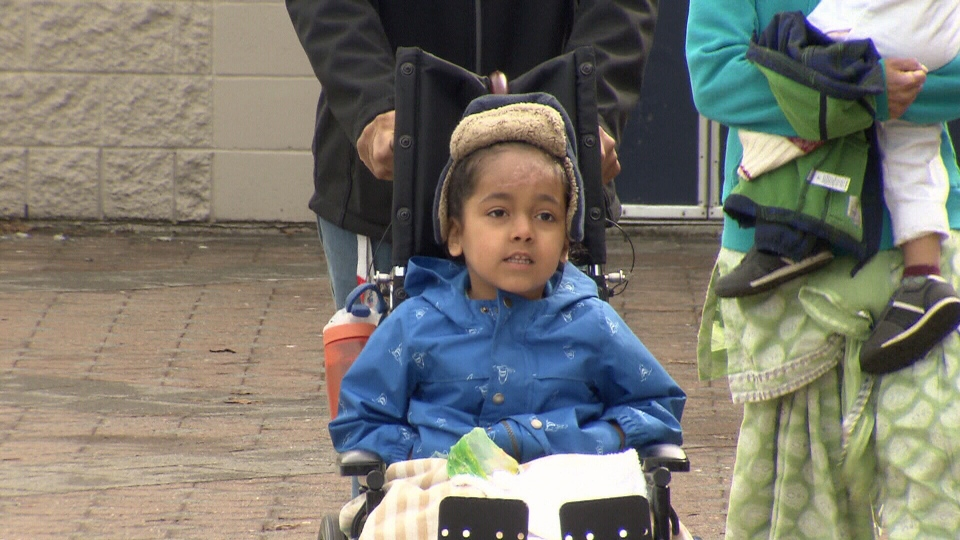 Fateh, 5, had surgery for his fractured femur and multiple stitches for a gash on his forehead.