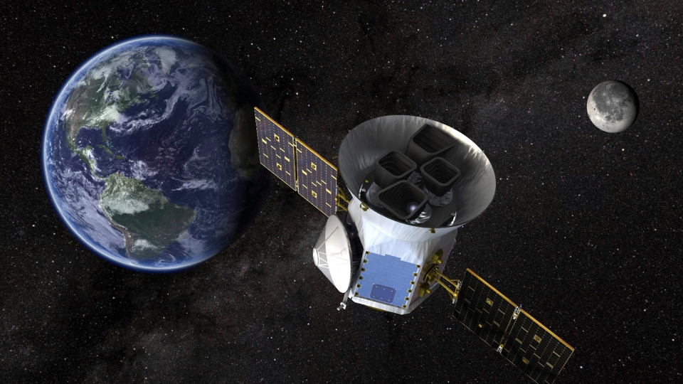 This image made available by NASA shows an illustration of the Transiting Exoplanet Survey Satellite (TESS). (NASA via AP)