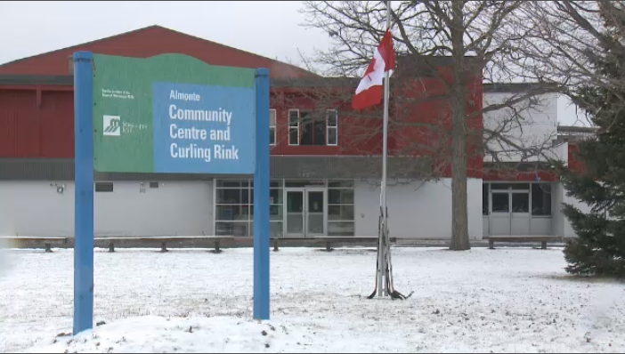 Flag at half-mast outside Almonte Community Centre and Curling Rink