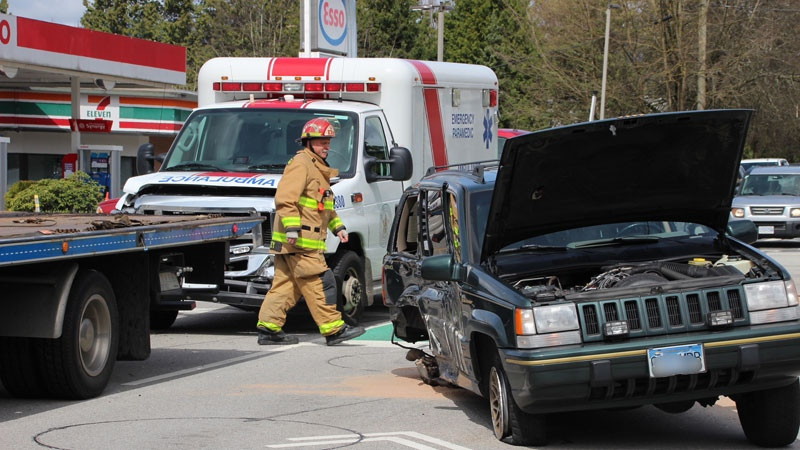 The collision happened just before 12:15 p.m. at Lougheed Highway and Laity Street.