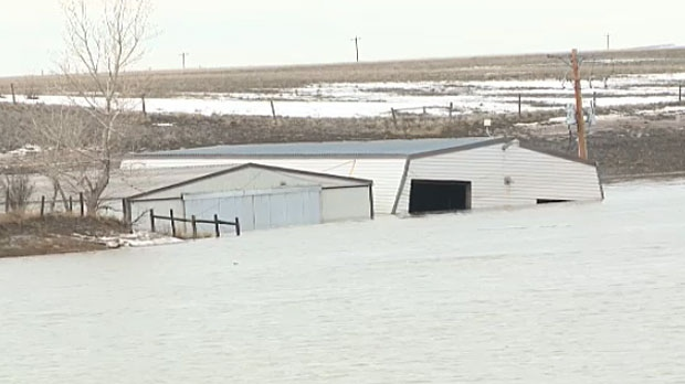 A number of properties have been flooded in the Taber area on Sunday.