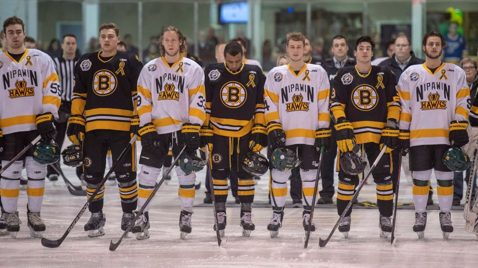 A moment of silence to acknowledge first responders, victims, and survivors of the bus crash that killed 16 members of the Humboldt Broncos hockey team last week near Tisdale, Sask., are acknowledged prior to game one of the Saskatchewan Junior Hockey league final between the Estevan Bruins and Nipawin Hawks in Nipawin, Sask. on Saturday, April 14, 2018. THE CANADIAN PRESS/Liam Richards